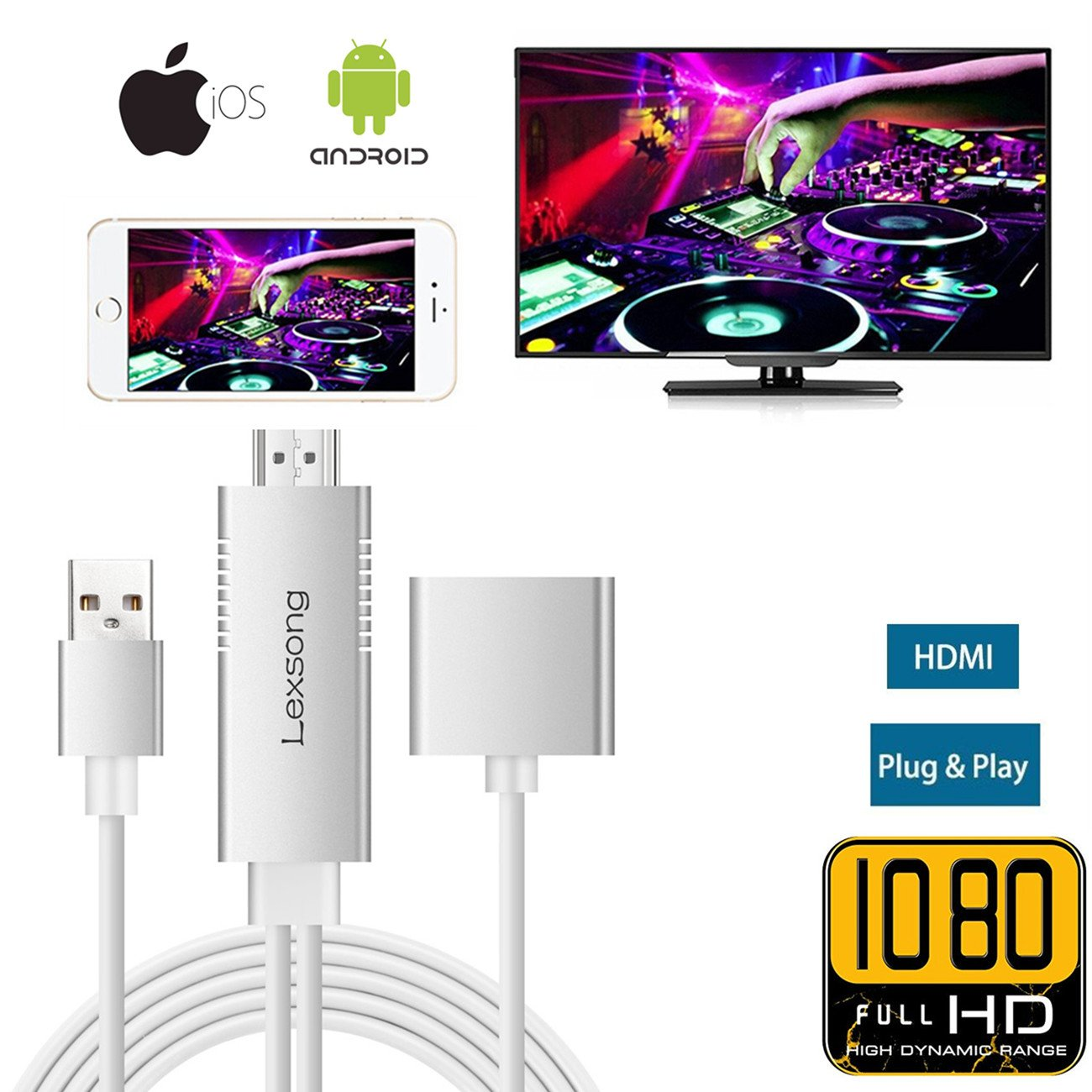 Lightning to HDMI Adapter Cable for IOS Android, Lexsong 3 in 1 Lightning,Micro,Type C to HDMI Adapter Full HD 1080P Mirroring Cable with Audio Input (Silver)