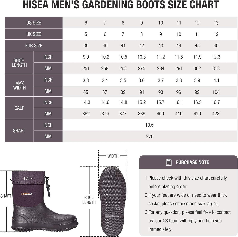 Hisea Ankle-Height Rain Boots Rubber Garden Boots Waterproof Muck Riding Boots Neoprene Outdoor Work Boots for Women Men