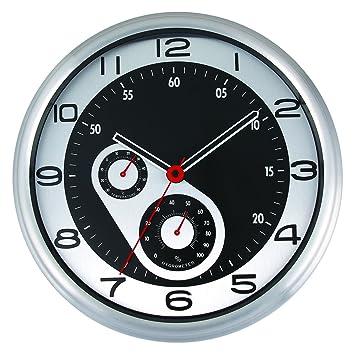 Wanduhr Küche, Likeluk 12 Zoll(30cm) Modern Lautlos Quartz Wanduhr  Schleichende Sekunde ohne Ticken mit Thermometer und Hygrometer