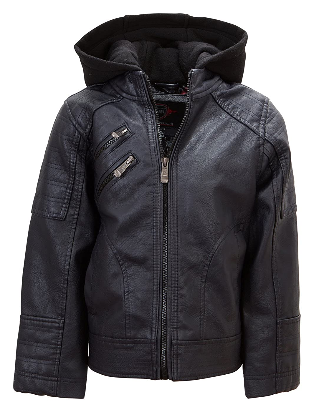 Urban Republic Boys Faux Leather Jacket Cool Motorcycle Biker Kids Winter Coat