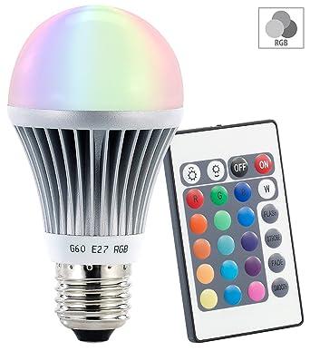 Luminea Farbwechselnde LED-Lampe (RGB-LED) mit Fernbedienung, E27 ...