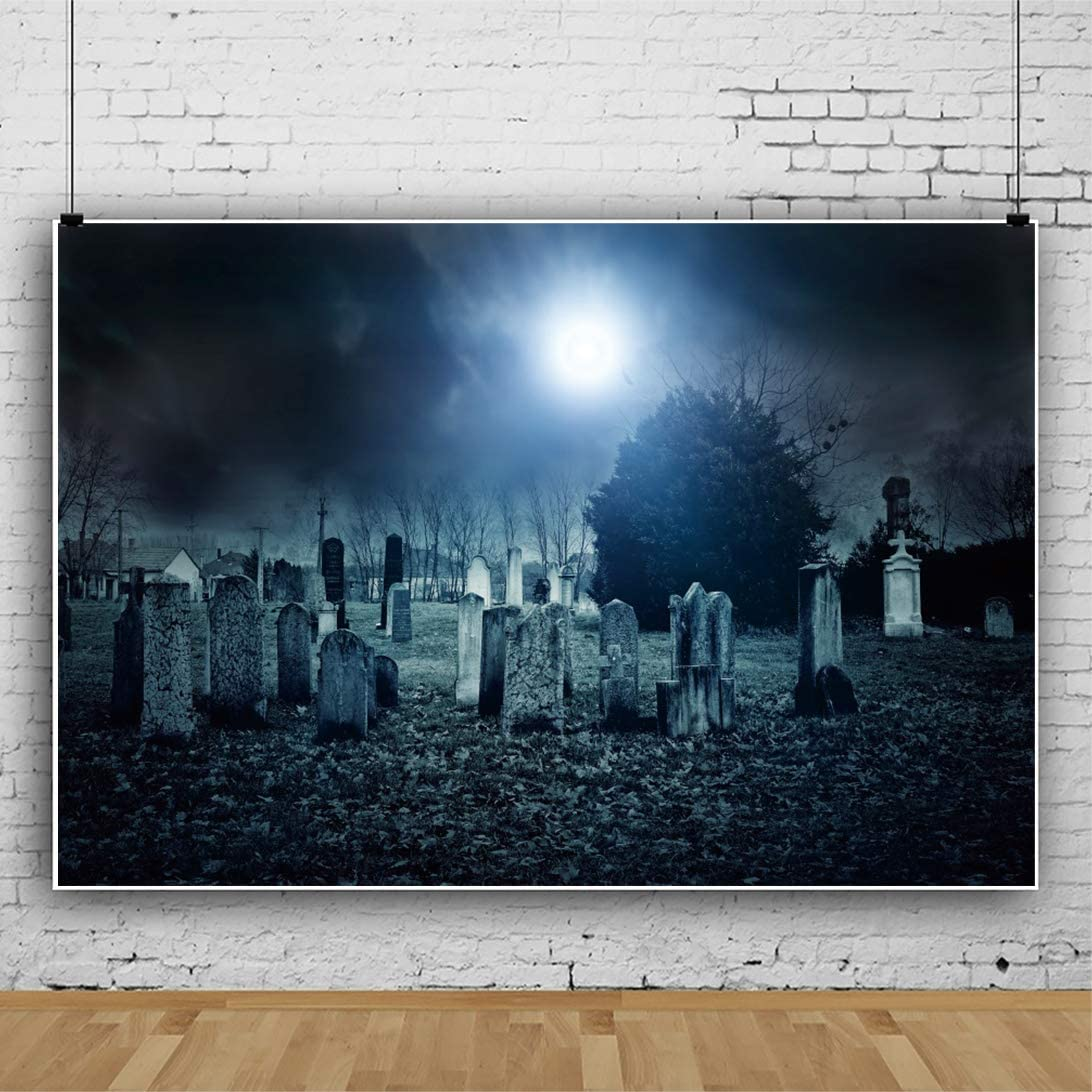 CSFOTO 10x8ft Halloween Backdrop Halloween Theme Party Background for Photography Halloween Scary Night Cemetery Tomb Withered Tree Child Baby Kids Portrait Photo Vinyl Wallpaper