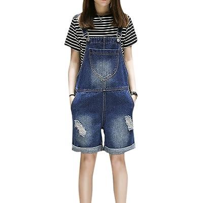 Women's Plus Size Loose Denim Distressed Front Bib Short Overalls Dark Blue Jumpsuits Suspenders