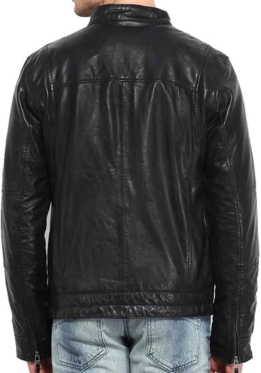 New Men Designer Genuine Lambskin Soft Biker Leather Jacket T1064