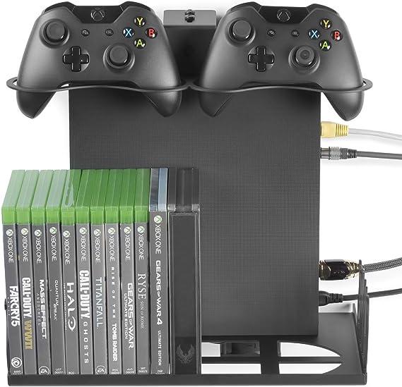 Borangame GameVspaceSwap Soporte Vertical para PS4, PS4 Slim y PS4 Pro, Xbox One X y One S con Ventiladores de enfriamiento | Espacio para Dos mandos, 22 Juegos | Negro: Amazon.es: Electrónica