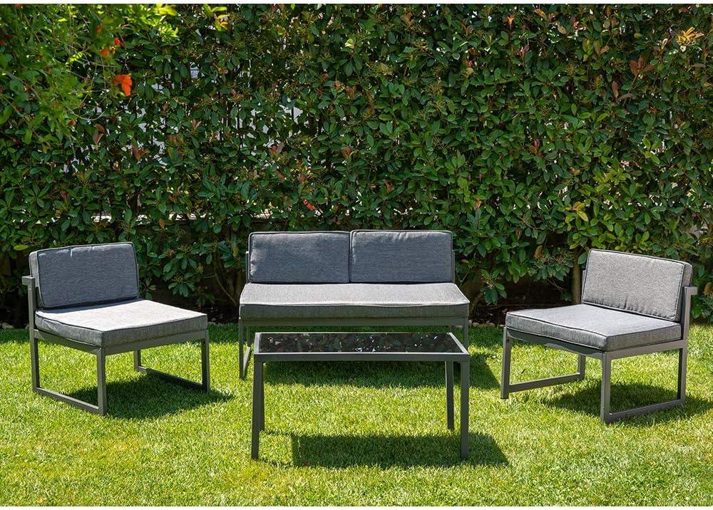 Enrico Coveri Garden Salotto 5 Posti Grigio Giardino Piscina E Terrazzo Completo di Divano Poltrone e Tavolino Set Perfetto per Arredo Esterno