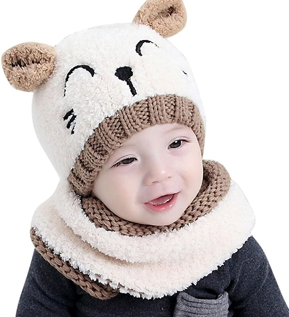 Toddler Winter Warm Hat and O Ring Neck Scarf Set Infant Fur Ball Beanie Knitted Cap with Circle Loop Neckerchief for Kids Boys Girls DesignerBox 2PCS Baby Knit Hat Scarf