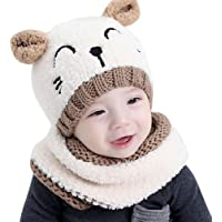 CoKate Baby Hat and Scarf 2pcs Set, Infant Winter Knit Beanie Caps with Scarves
