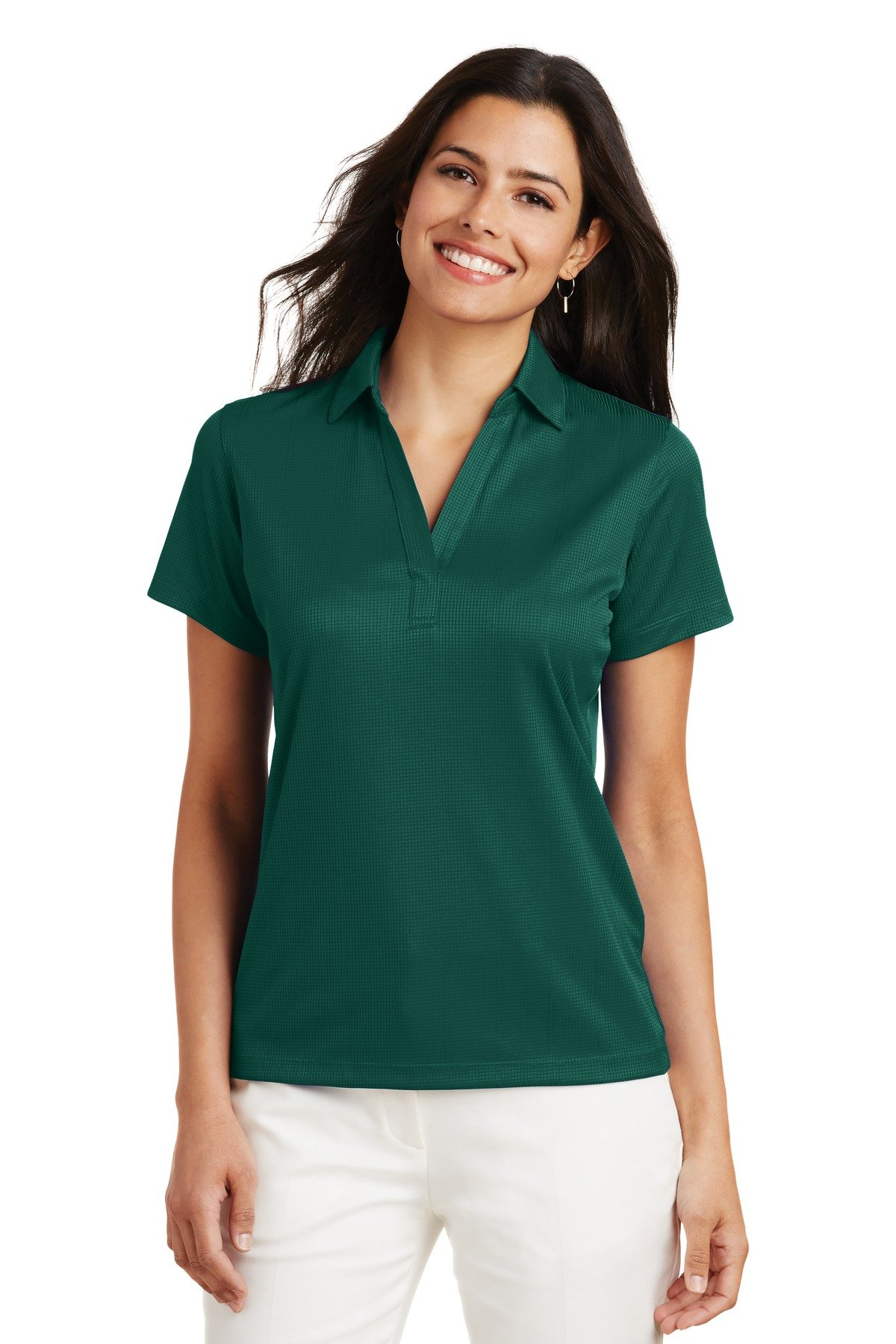 Port Authority Ladies Performance Fine Jacquard Polo. L528 Green Glen XL by Port Authority