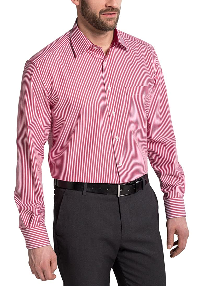 Eterna Long Sleeve Shirt Comfort Fit Textured Weave Striped