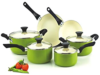 Cook N Home NC-00358 Nonstick Ceramic 10-Piece Cookware Set, Green