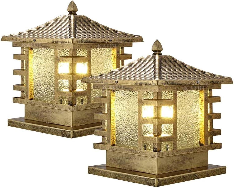 Paquete de 2 farolillos para exteriores con 1 luz Acabado en bronce Vidrio texturizado Columna de aluminio fundido a presión Accesorio de iluminación 60W Max Porche exterior de la casa Patio Lan