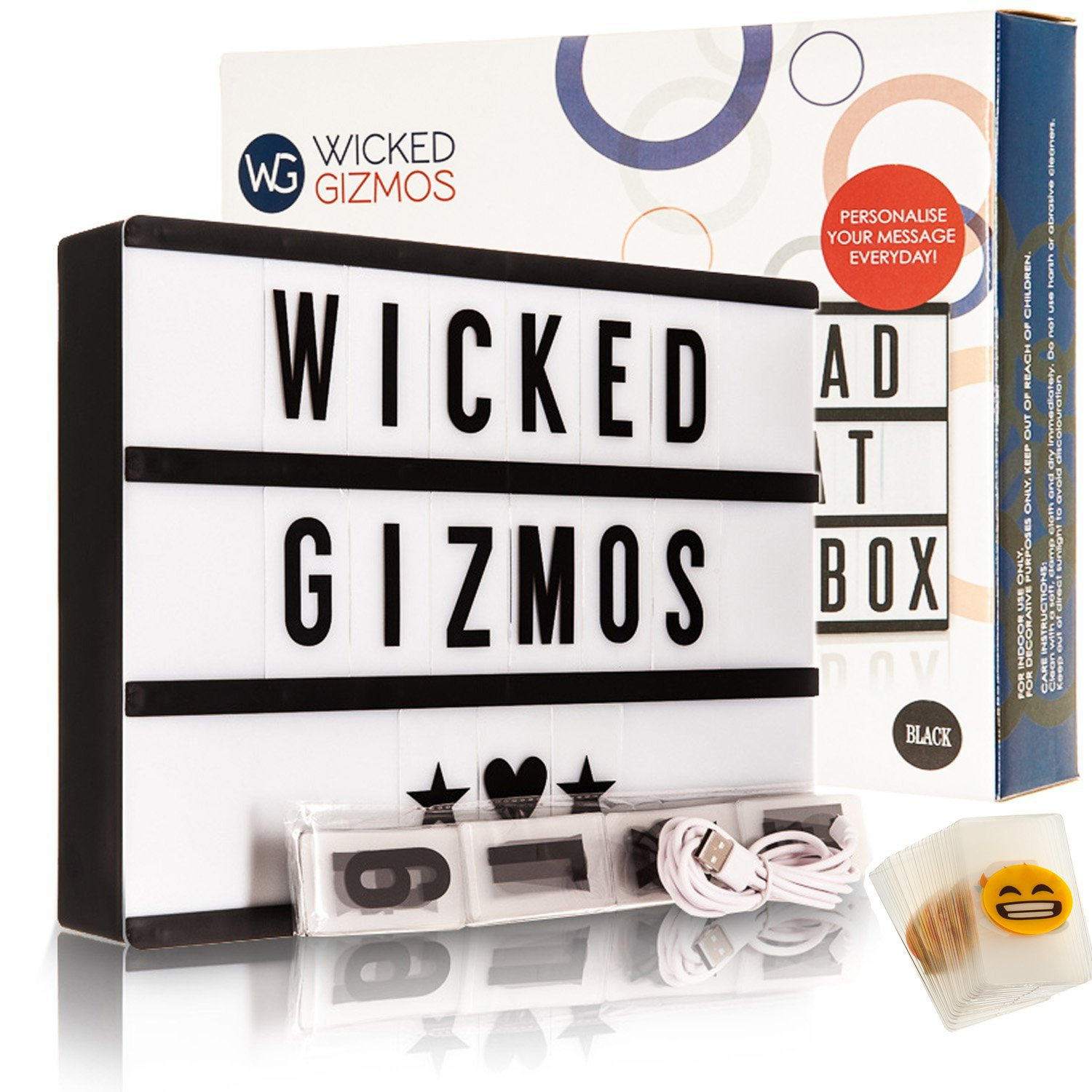 WICKED GIZMOS ® Large 24 Bright LED A4 Cinematic Light Box with Double Pack Letters, Numbers and Symbols - 100 Black and 100 Colourful PLUS 15 Bonus Emoji Cards - Personalise your Message Every Day - Freestanding or Wall Mounted - USB or Battery Operated -