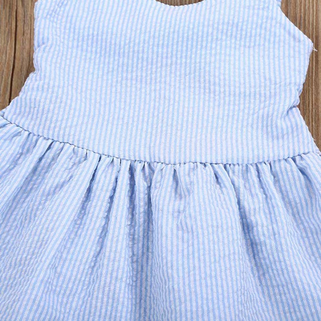 Junjie Toddler Kids Baby Girls Stripe Lace Sling Off The Shoulder Knee-Length Party Pageant Princess Dresses Summer Backless Bowknot Bandage V-Neck Vest Dress