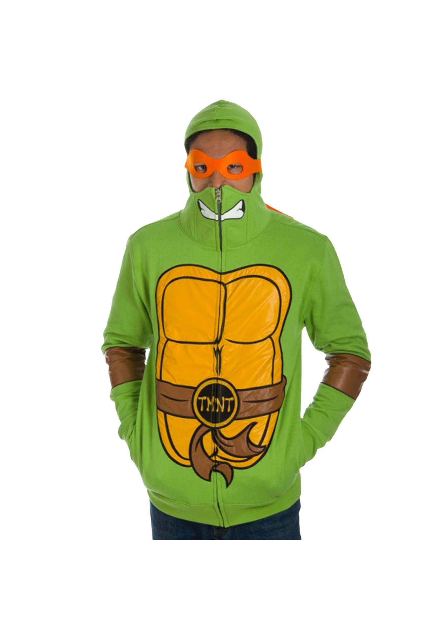 Teenage Mutant Ninja Turtles Full Zip Hoodie with Mask  Green Medium