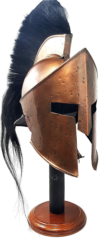 Medieval 300 King Leonidas Spartan Helmet Black Plume Copper Finish by Siddhivinayak overseas (Image #3)
