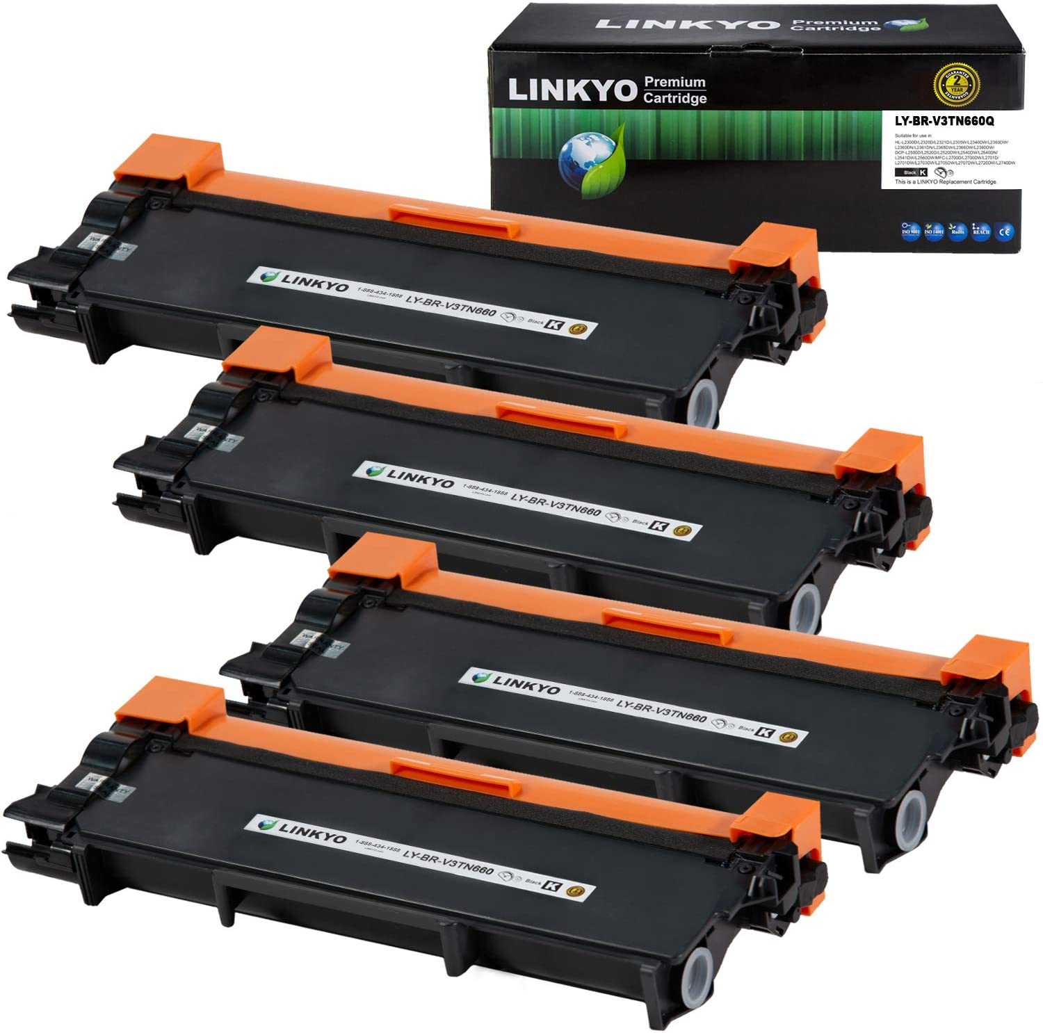 LINKYO Compatible Toner Cartridge Replacement for Brother TN660 TN630 (4-Pack, High Yield, Design V3)