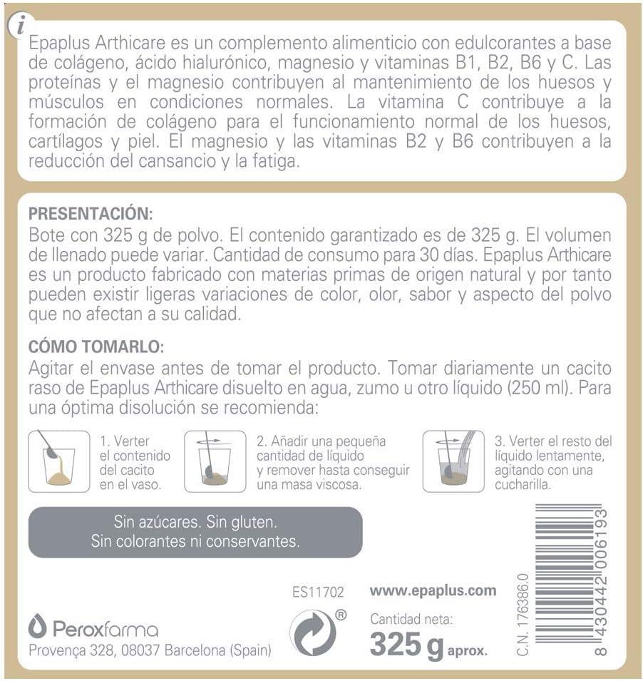 Epaplus Articulaciones Colágeno + Ácido Hialurónico + Magnesio- 30 Días(325gramos, sabor vainilla)