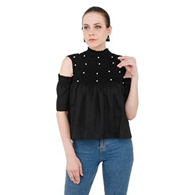 6b04eb4110ff6 DIMPY GARMENTS BuyNewTrend Shoulder Cut Rayon Top for Women  Amazon.in   Clothing   Accessories