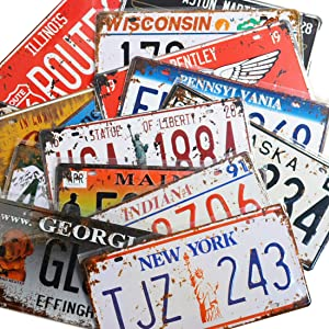 18 Pieces Assorted Retro Vintage Number Tags, 3D Embossed License Plates, Home Wall Automobile Bar Garage Man Cave Decoration, 6x12