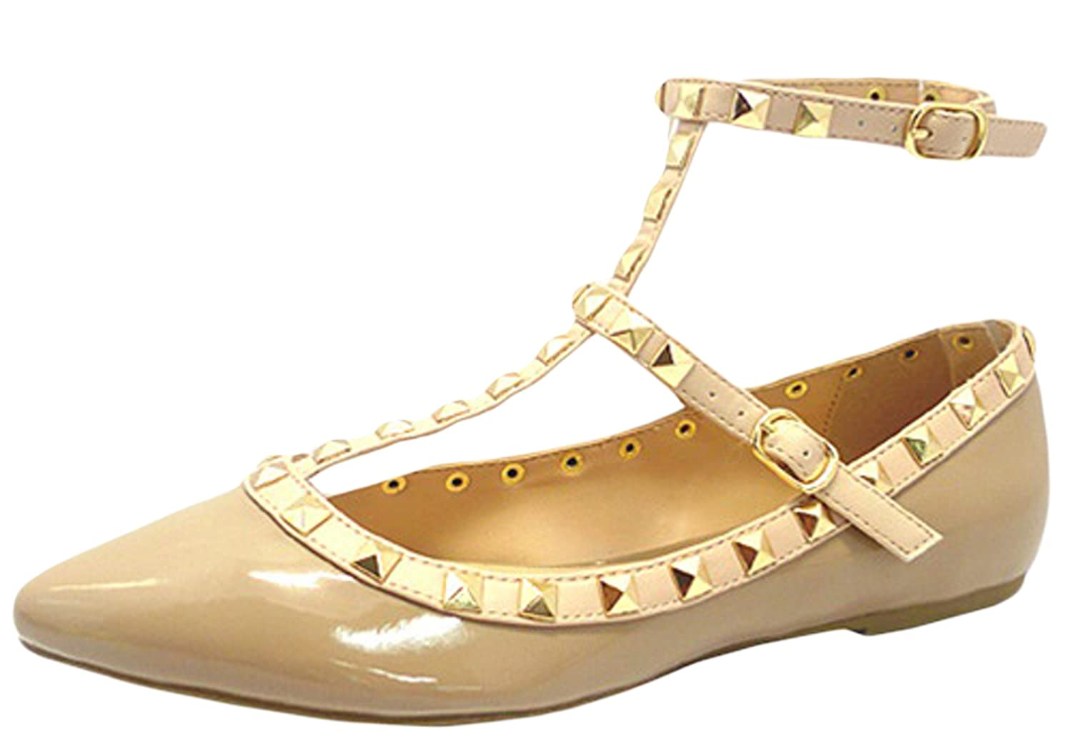Wild Diva Women's Studded Accent Pointed Toe Ballet Flats B00N9RO1VU 7.5 B(M) US|Natural Patent