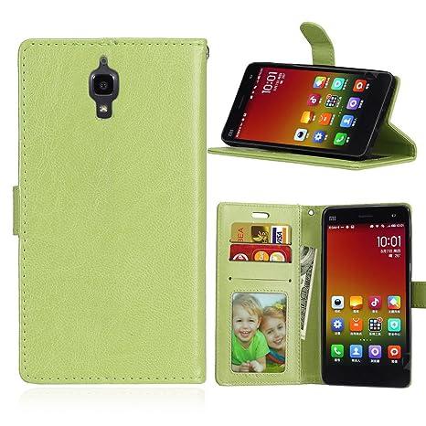 Qiaogle Teléfono Case - Funda de PU Cuero Billetera Clamshell Carcasa Cover para Xiaomi Mi4 (5.0 Pulgadas) - DK07 / Verde Moda Elegante estilo
