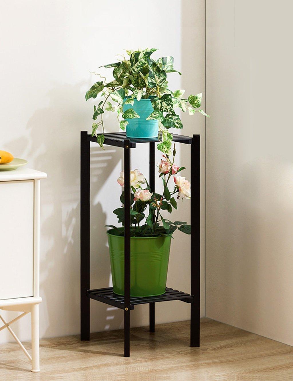 Echotang Bamboo Flower Rack Multilayer Flowerpot Display Rack Flower Shelf, Light Brown (Color : Black 2 tier)