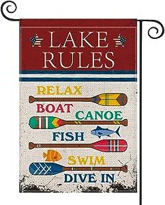 AVOIN Lake Rules Slogan Wood Garden Flag Vertical Double Sized, Relax Boat Canoe Swim Summer Yard Outdoor Decoration 12.5 x 18 Inch
