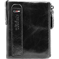 Hibate Men Leather Wallet RFID Blocking Men's Wallets Credit Card Holder Vertical Coin Pocket Purse
