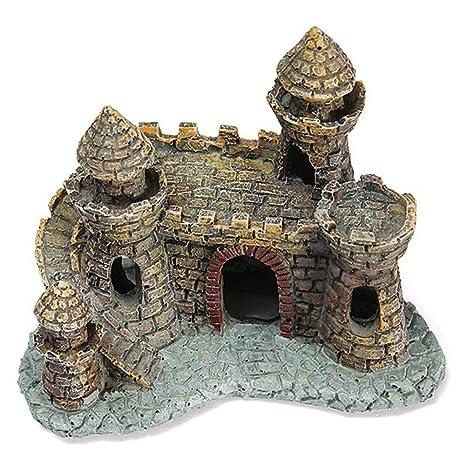 Cratone Adornos de Acuario Artificiales decoración de Castillos pequeños, Resina, para pecera, Mesa