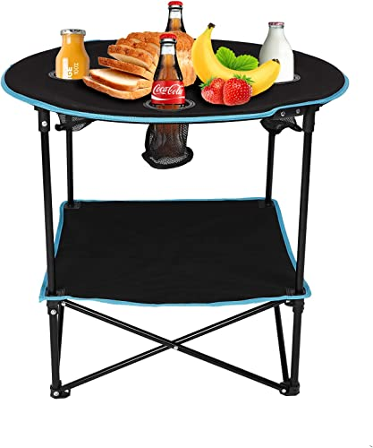 Vilobos Folding Table,Travel Camping Picnic Collapsible Round Table