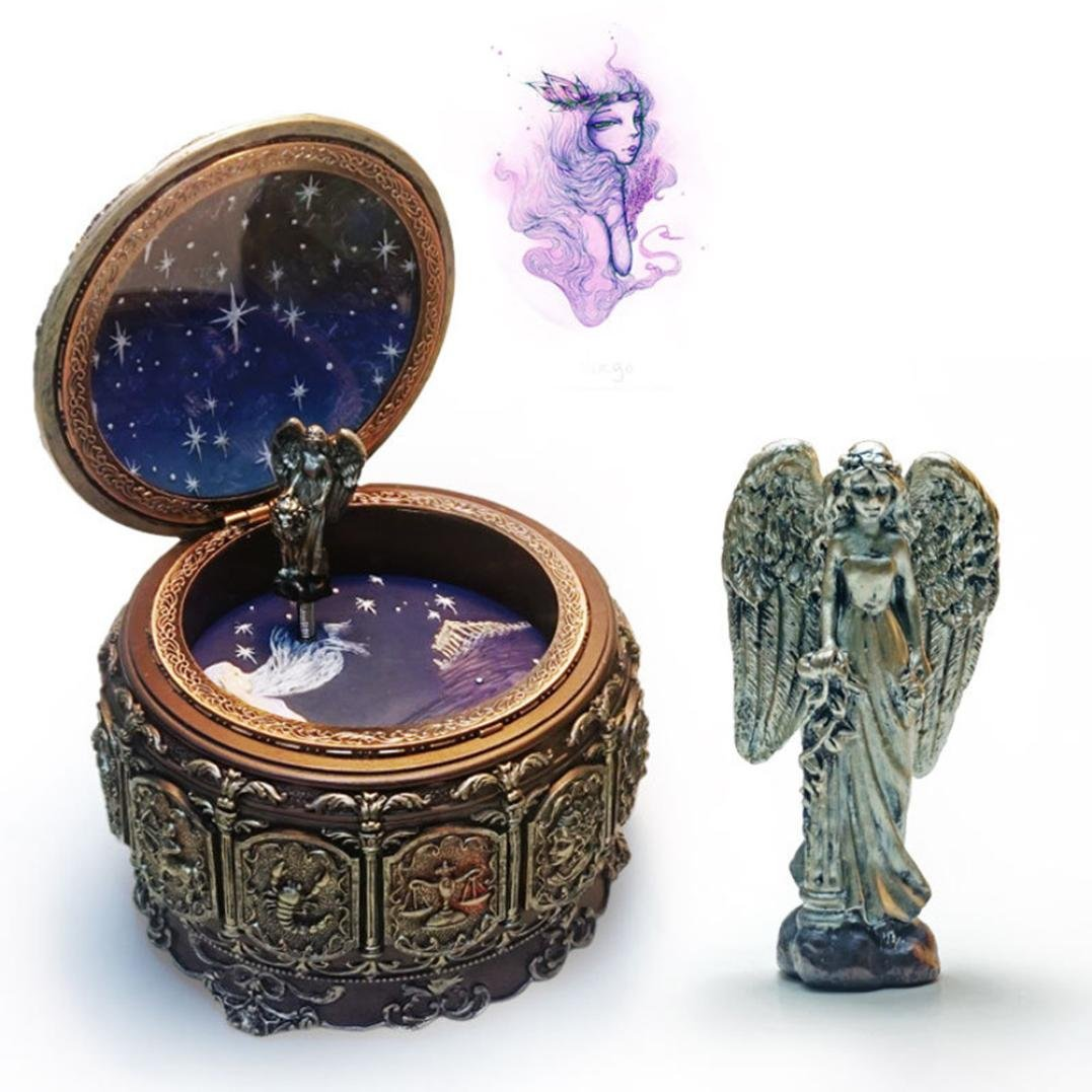 Sunward Vintage Twelve Constellations Mechanical Resin Collectible Music Box,Plays Castle in the Sky (B)