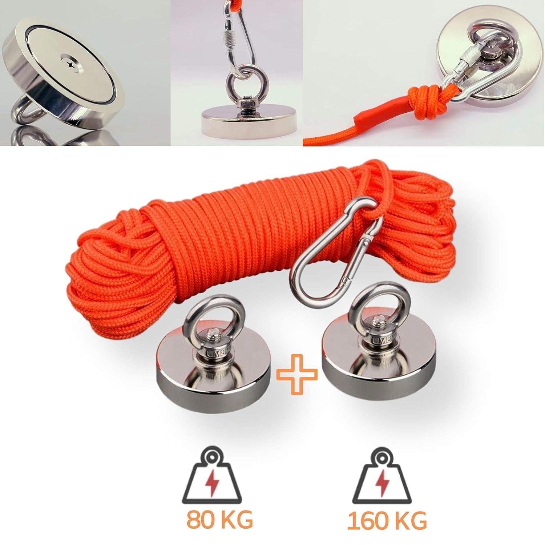 Con Cuerda de Nylon 20M Industria Salvamento en el R/ío Perfecto Para Pesca con Im/án Par de Guantes 160 KG + 80 KG Ciencias Imanes Neodimio Potentes KIT de 2 Im/án Potente Fuerza de Atracci/ón