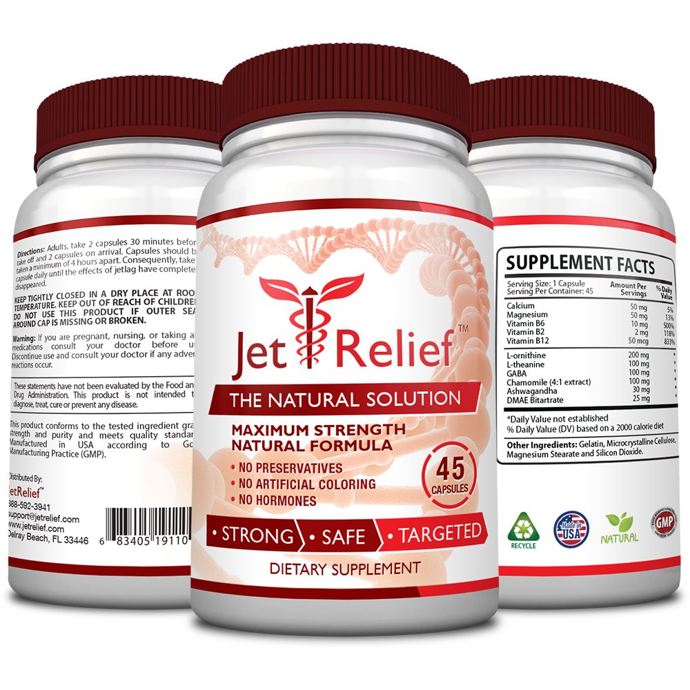 JetRelief - The #1 Choice for Jet Lag Relief - 100% Pure & Natural with NO MELATONIN- Helps Regulate Circadian Rhythm - With DMAE, Vitamin B and Magnesium - 100% Money Back - 6 Bottles Supply by JetRelief (Image #2)