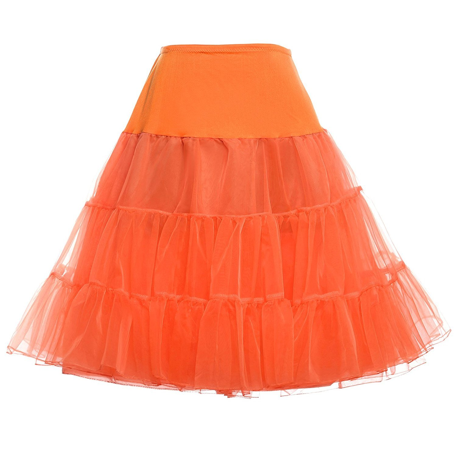 Wishopping Women 1950s Rockabilly Tutu Skirt Crinoline Petticoat P18 Orange Size S WP18OG-S