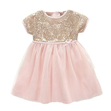 45a5e9c0dc319 BBVESTIDO Baby Girls Christening Baptism Party Formal Dress Pink with  Sequins for Newborn-24months