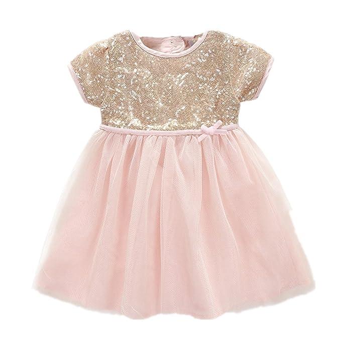 Hello Baby - niñas vestido de color rosa con lentejuelas doradas para 1 año  fiesta de cumpleaños - Rosado -   Amazon.es  Ropa y accesorios 0e6cd83ad6db