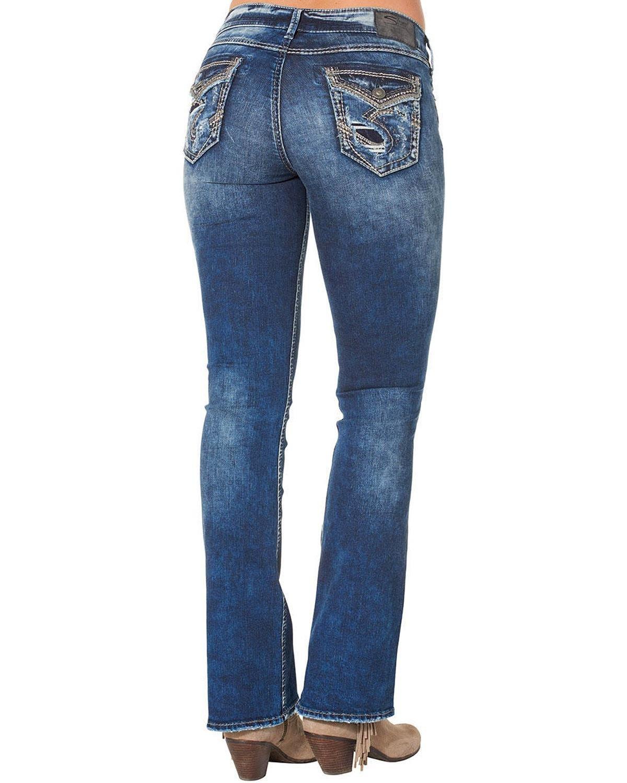 Silver Jeans Women's Elyse Mid Rise Bootcut Jean, Dark Wash Indigo, 27 x 33