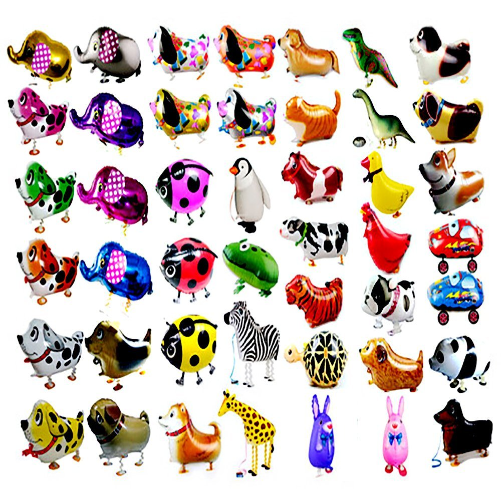 CUGBO 20Pcs Set Walking Animals Balloons Pets, Air Walker Balloons, Mylar Foil Helium Aluminum Balloon Kit for Kids Birthday Party Baby Shower Decor Children Gift by CUGBO