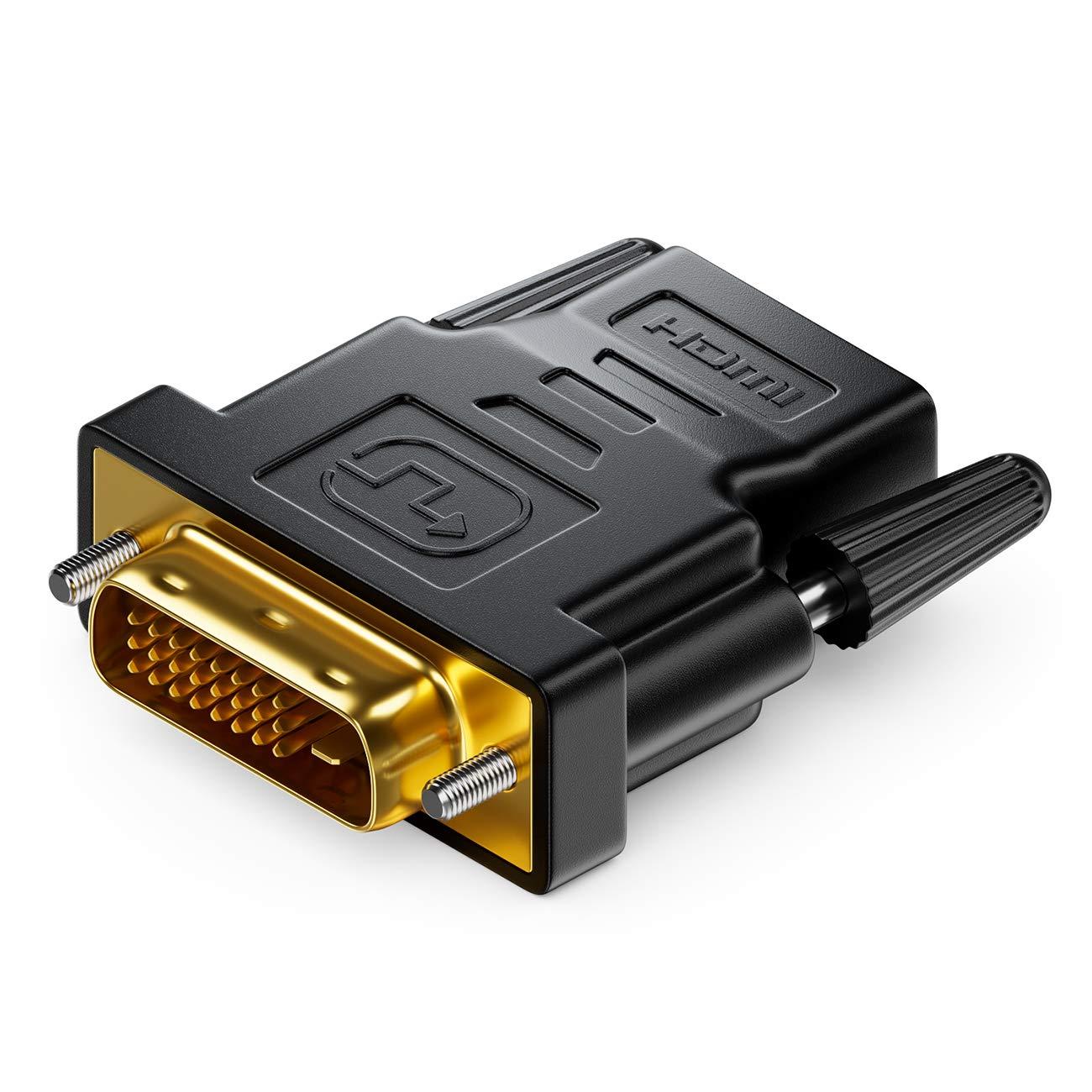 1080p Full HD 1920x1200 HDMI Femelle vers Connecteur DVI-D M/âle 24+1 deleyCON Adaptateur HDMI-DVI Noir 19pol