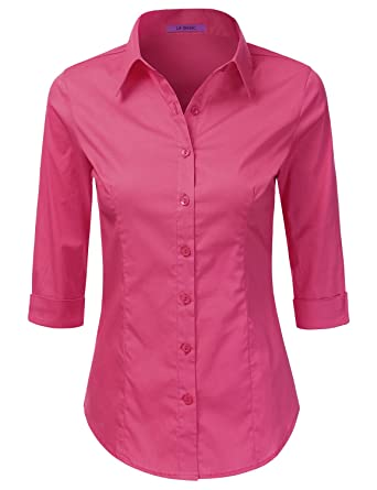 c96acd10 Amazon.com: LA BASIC Womens 3/4 Sleeve Button Down Point Collared Shirts  FUCHSIA S: Clothing