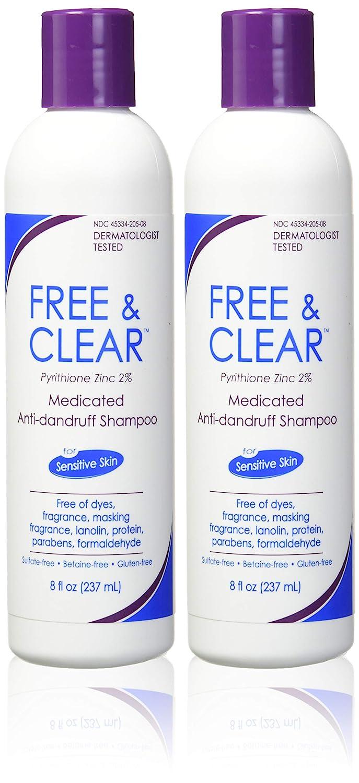 Free & Clear Medicated Anti-Dandruff Shampoo, 8 fl oz Each (Pack of 2)