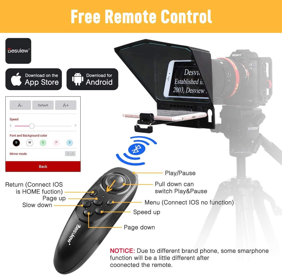 Desview T2 T/él/éprompteur pour DSLR Camera Smartphone Tablet Kit de Teleprompter Portable avec T/él/écommande et Bague dAdaptation dObjectif
