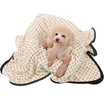 Manta de forro polar para perros y gatos, ultrasuave, lavable para perros pequeños y medianos, diseño de puntos: Amazon.es: Productos para mascotas