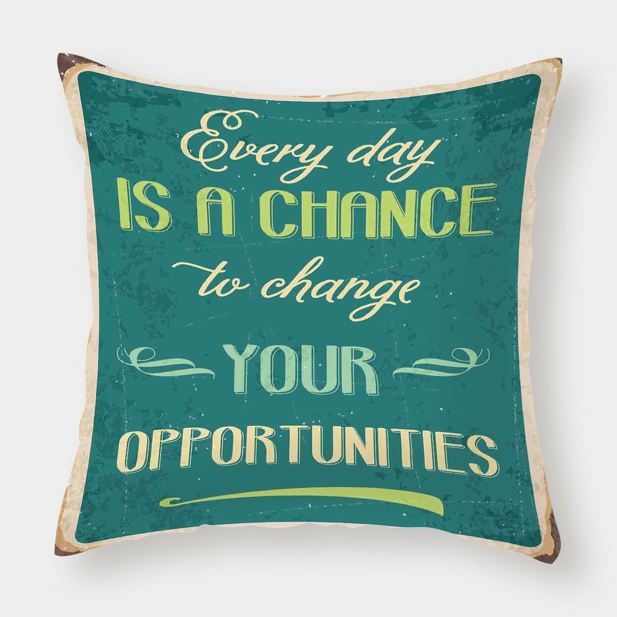 Microfiber Throw Pillow Cushion Cover,Lifestyle,Every Day is a Chance to Change Your Opportunities Quote Retro Poster Print,Jade Green Tan,Decorative Square Accent Pillow Case by iPrint (Image #1)