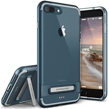 VRSdesign® Carcasa Transparente Crystal Bumper | Apple iPhone 7 Plus | Funda Doble Antichoque TPU + Policarbonato en Azul cobalto | Protección ...