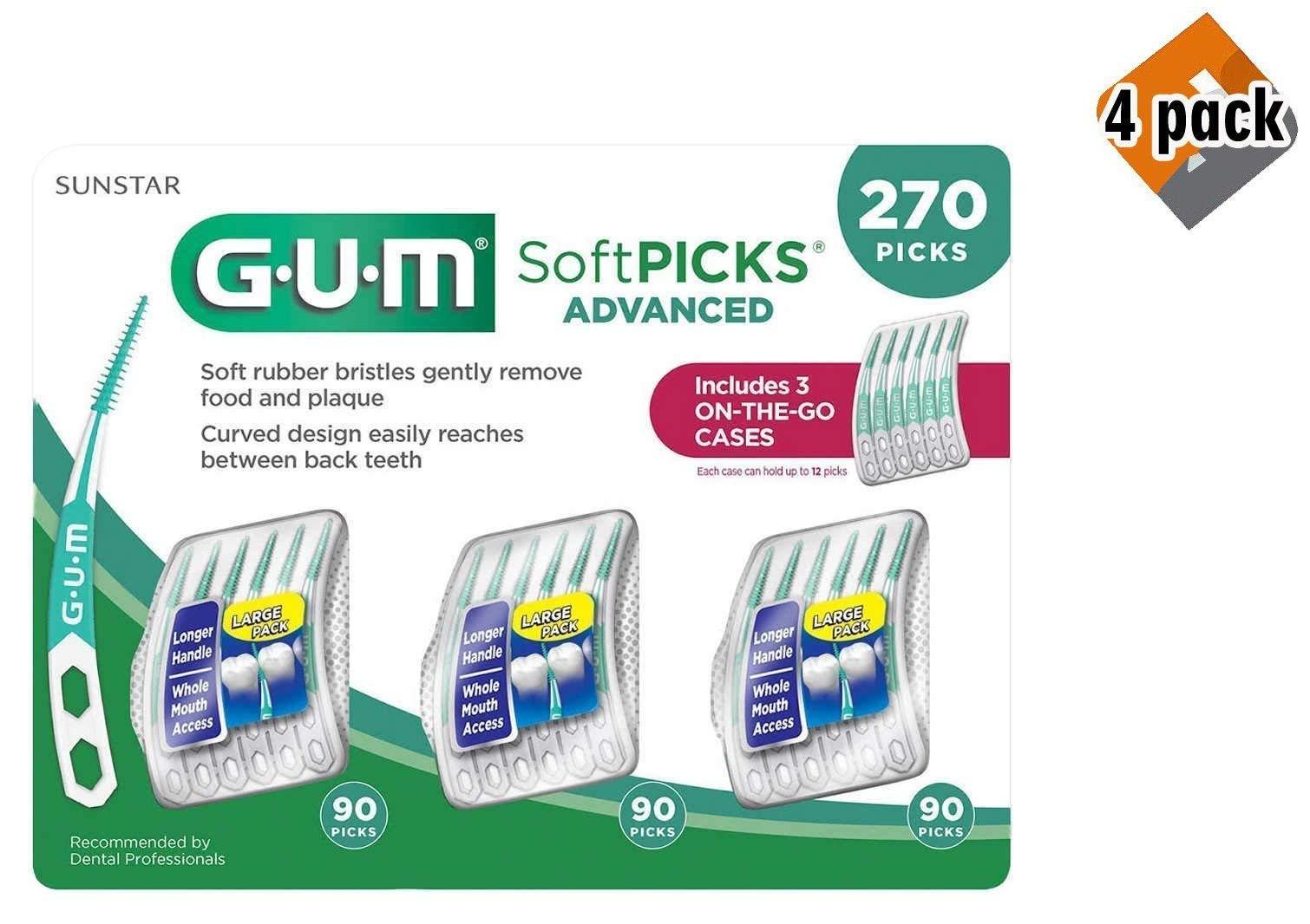 GUM Soft-Picks Advanced Dental Picks, 270 Count - 4 Pack