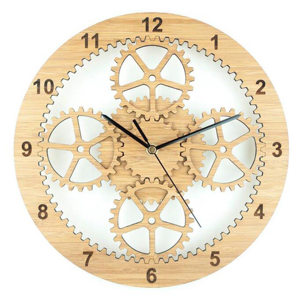 Amazon.com: CLOCK Wall Bamboo Wooden Circular Hollow Gear Wall ...