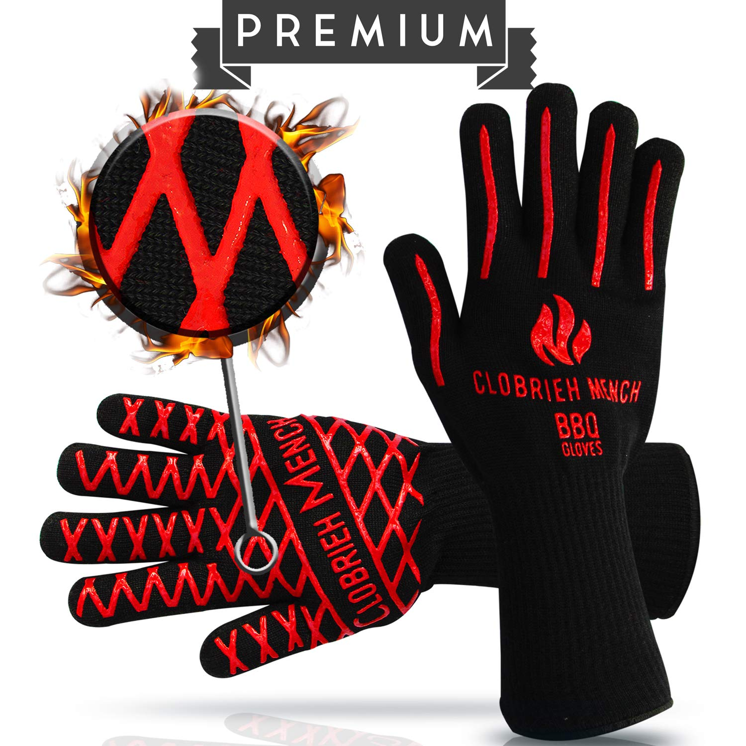 Clobrieh Mench BBQ Extreme Heat Resistant 932°F (500°C) Gloves - 14'' Long Forearm Safety & 100% Meta-Aramid Oven Mitts for Grilling, Cooking | EN407 | One Size Fits All - Black Colour - Set of 2 by Clobrieh Mench