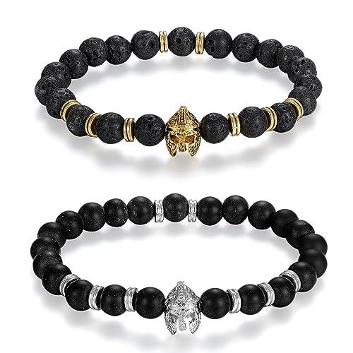 Flongo 2pcs pulseras de lava brazalete budista, Retro vintage negra pulsera de piedras de energia
